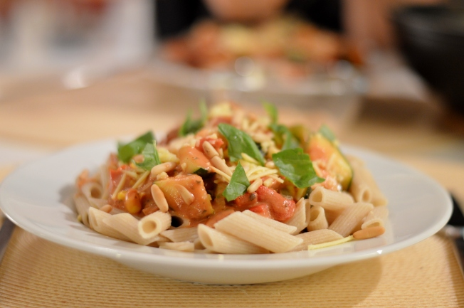 pasta with vegetables and a tomato-soy-cream-sauce